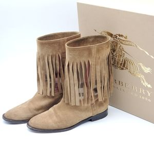 Burberry Light Brown Suede Norland Fringed Boots